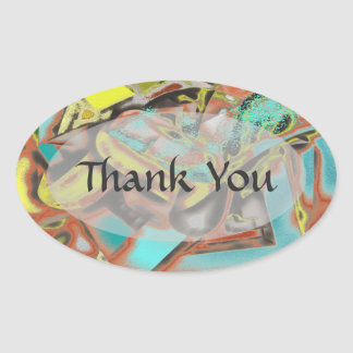 Abstractly Speaking Abstract Design Oval Sticker
