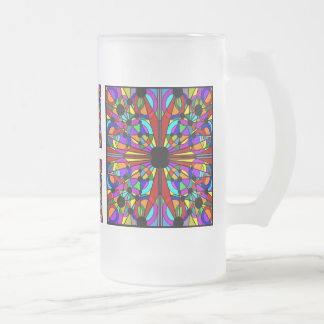 AbstractStained Glass Frosted Tall Mug4 Frosted Glass Beer Mug