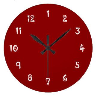 Absurd Full Color Dark Red Large Clock