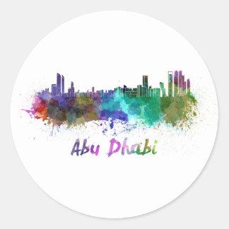 Abu Dhabi skyline in watercolor Classic Round Sticker