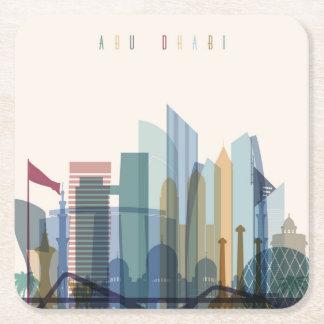 Abu Dhabi, United Arab Emirates | City Skyline Square Paper Coaster
