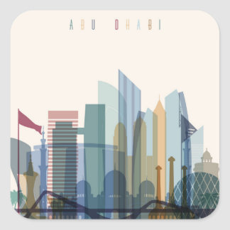 Abu Dhabi, United Arab Emirates | City Skyline Square Sticker