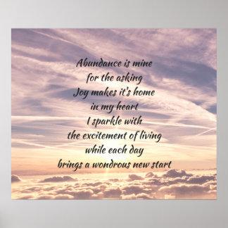 Abundance affirmation poem poster
