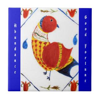 Abundance & Good Fortune PA Dutch Hex Sign Small Square Tile