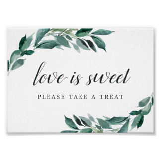 Abundant Foliage Wedding Dessert Bar Sign