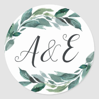 Abundant Foliage Wedding Monogram Classic Round Sticker