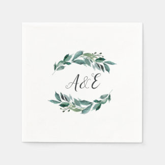 Abundant Foliage Wedding Monogram Disposable Napkin
