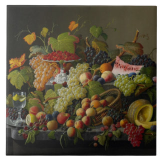 Abundant Fruit, 1858 (oil on canvas) Large Square Tile
