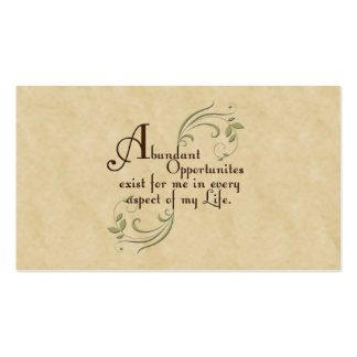 Abundant Opportunities Affirmation /Business Cards Pack Of Standard Business Cards