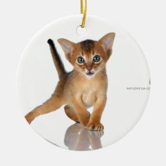 Abyssinian cat round ceramic decoration