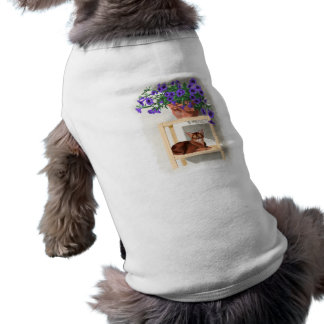 Abyssinian cat with flowers shirt