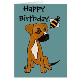 AC- Cute Boxer Puppy and Bee Cartoon Card