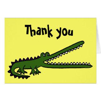AC- Funny Crocodile Art Thank you Card