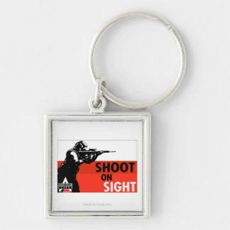 AC Propaganda - Shoot On Sight Silver-Colored Square Key Ring