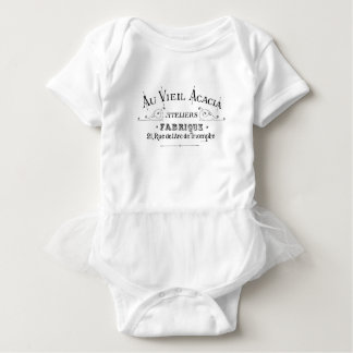 Acacia Fabric French Typograpy  design Baby Bodysuit