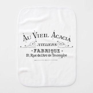Acacia Fabric French Typograpy  design Burp Cloth