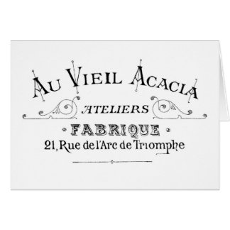 Acacia Fabric French Typograpy  design Card