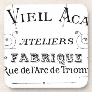 Acacia Fabric French Typograpy  design Coaster