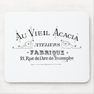 Acacia Fabric French Typograpy  design Mouse Pad