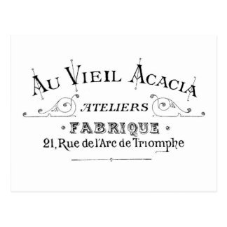 Acacia Fabric French Typograpy  design Postcard