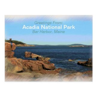 Acadia National Park Painted Souvenier Postcard