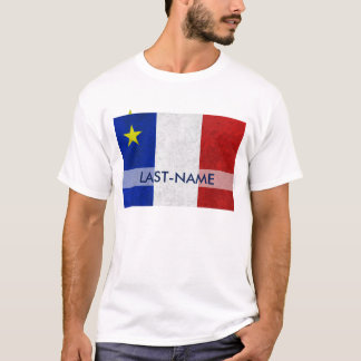 Acadian Flag Surname Distressed Grunge Personalise T-Shirt