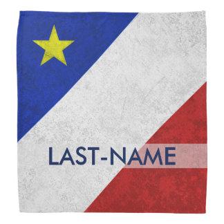 Acadian Flag Surname Distressed Grunge Personalize Bandana