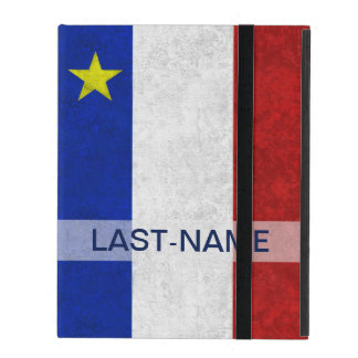 Acadian Flag Surname Distressed Grunge Personalize Case For iPad