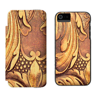 Acanthus Leaf Woodworking Wood Carving Burnished Incipio Watson™ iPhone 5 Wallet Case