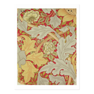 Acanthus leaves and wild rose on a crimson backgro postcard