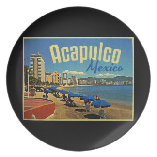 Acapulco Mexico Vintage Travel Party Plates