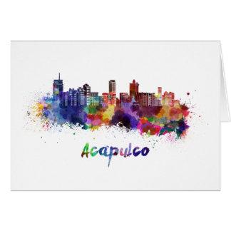 Acapulco skyline in watercolor card