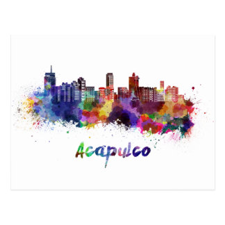Acapulco skyline in watercolor postcard