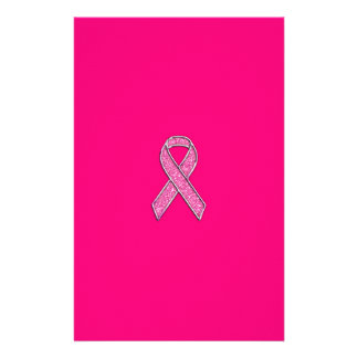Accent Chrome Glitter Style Pink Ribbon Awareness Stationery Design