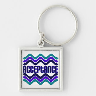 Acceptance Silver-Colored Square Key Ring
