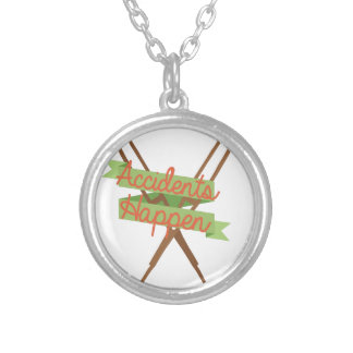 Accidents Happen Crutches Silver Plated Necklace