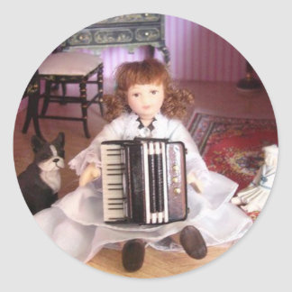 ACCORDION GIRL CLASSIC ROUND STICKER