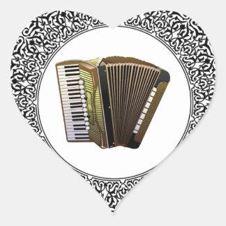 accordion in a round heart sticker