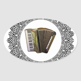 accordion in a round oval sticker