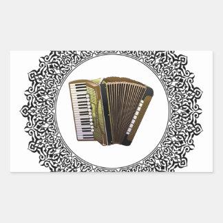 accordion in a round rectangular sticker