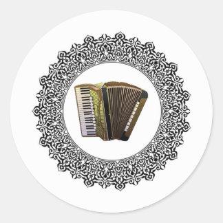 accordion in a round round sticker