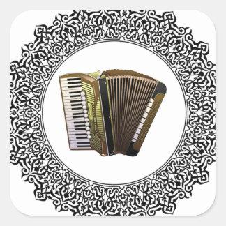 accordion in a round square sticker