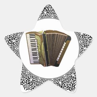 accordion in a round star sticker