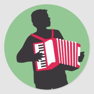 Accordion more player classic round sticker