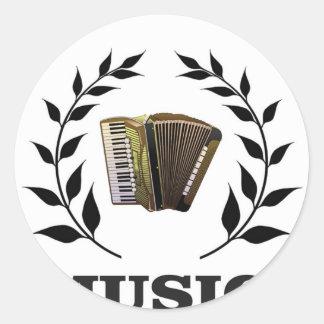accordion music branch round sticker