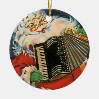 Accordion Santa Ceramic Ornament
