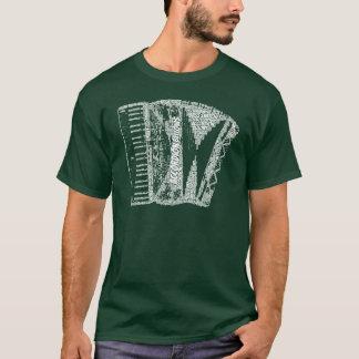 Accordion Shaped Word Art White Text T-Shirt