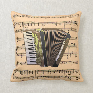 Accordion w/Sheet Music Background ~ Musical Instr Cushion