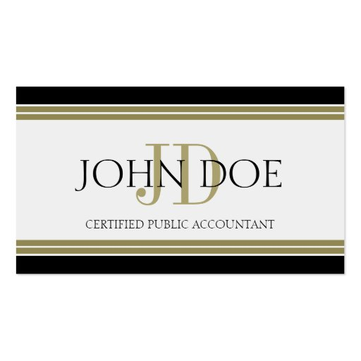 Accountant Black Gold Stripes Business Card