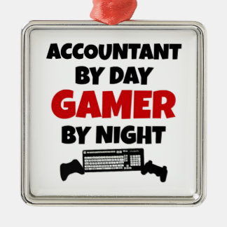 Accountant by Day Gamer by Night Metal Ornament